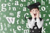 Pojke med bokstäver — Stockfoto