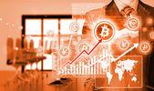 Choosing bitcoins, businessman pressing touch screen button. — Stockfoto