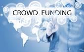 Businessman pushes virtual crowd funding button — Foto Stock