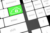 Cloud computing security concept on keyboard button close-up — Stock Photo