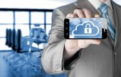 Man holds smart phone with cloud security — Stock Photo