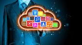 Chmury obliczeniowej ekran dotykowy interfejs — Zdjęcie stockowe