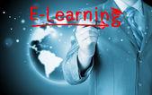 Affärsman skriva e-learning koncept — Stockfoto