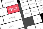 Gratis wi-fi toets op toetsenbord met soft focus Sea — Stockfoto