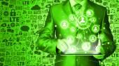 Homem de negócios usando o tablet pc conexão social — Foto Stock