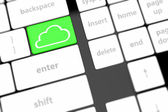 Cloud computing concept on computer keyboard with white keys. — Stock Photo