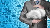 Cloud computing concept, close up of young businessman — Stock Photo