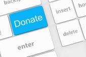 Donate key word on computer keyboard, — Stock Photo
