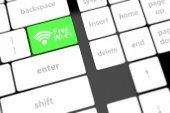 Bezplatné wi-fi tlačítko na klávesnici s měkkým zaměřením — Stock fotografie