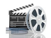 3d illustration of cinema clap and film reel — Stock Photo