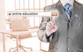 Online education written in search bar on virtual screen. — Stockfoto