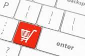 Shopping enter button key on white keyboard — Stock Photo