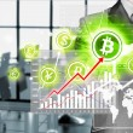 Choosing bitcoins, businessman pressing touch screen button. — Stock Photo #56009771