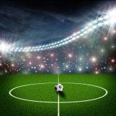 Fotboll fältet center och bollen — Stockfoto
