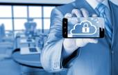 Man holds smart phone with cloud security concept — Stock Photo