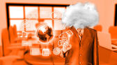 Young businessman with head in the clouds — Stock Photo