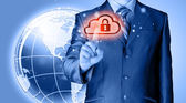 Säkert online cloud computing koncept med affärsman — Stockfoto