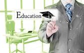 Concept de l'éducation pointage commercial homme — Photo