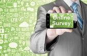 Businessman showing business concept on smartphone  - Online Survey — Stock Photo
