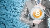 Businessman with protective gesture bitcoins — Foto de Stock