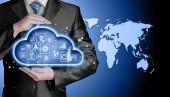 Cloud computing touchscreen rozhraní — Stock fotografie