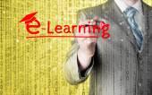 Człowiek biznesu pisania koncepcji e learningu — Zdjęcie stockowe