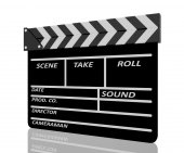 Clapper board on white background — Stock Photo