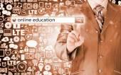 Online education written in search bar on virtual screen. — Foto de Stock
