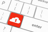 Cloud computing security concept on blue keyboard button close-up — Stock Photo