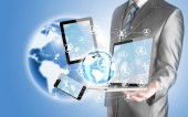 Business man using tablet PC and smartphone social connection — Foto Stock