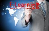 деловой человек, написание концепции электронного обучения — Стоковое фото