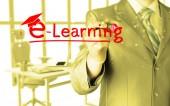 写作电子学习理念的商人 — 图库照片