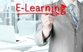 Business man writing e-learning concept — Fotografia Stock