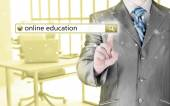 Online education written in search bar on virtual screen. — Stockfoto