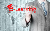 ділова людина написання електронного навчання концепції — Stockfoto