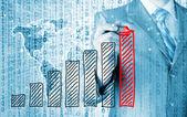 Obchodní muž kresba rostoucí graf — Stock fotografie