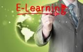 Man writing e-learning — Stock Photo