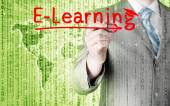 Man writing e-learning — Stok fotoğraf