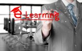 Man writing e-learning — Stock fotografie