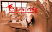 Man writing e-learning — Foto de Stock