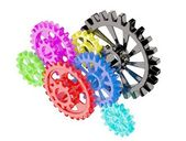Colorful chrome gears — Stock Photo