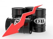 Oil Barrels with Red Arrow — Stock Photo