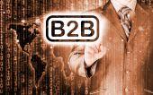 Businessman pointing to word B2B — Stock Photo