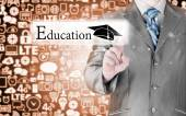Businessman pointing education — Stock Photo