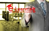Man writing e-learning — Stock Photo