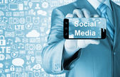 Smartphone with Social Media — Stock Photo