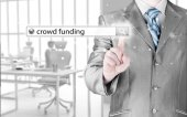 Businessman with crowd funding — Stock Photo