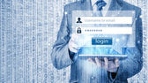 Businessman typing login and password — Foto Stock
