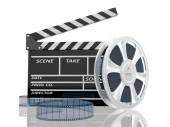 Illustration of cinema clap and film reel, over white background — Photo