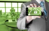 Cloud security concept with smartphone — Stockfoto